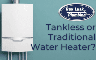 Image text reads: Tankless or traditional water heater?