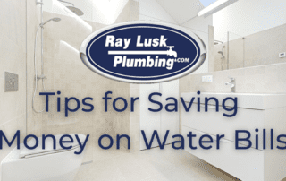 Image text reads: Tips for Saving Money on Water Bills