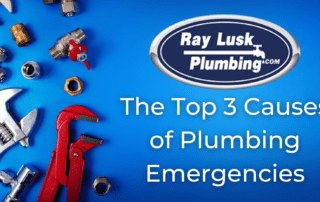 Image text reads: The Top 3 Causes of Plumbing Emergencies